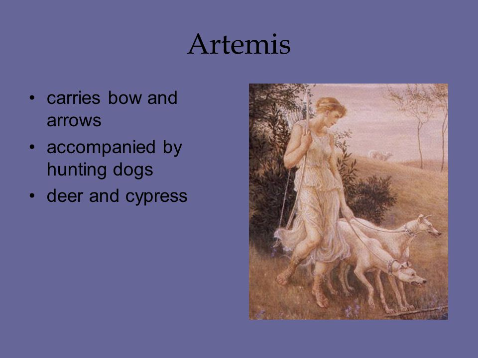 Artemis carries bow and arrows accompanied by hunting dogs deer and cypress