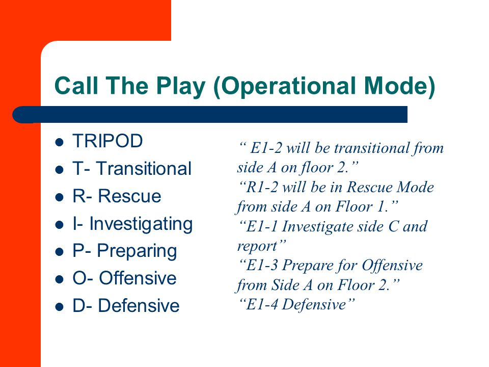Call The Play (Operational Mode) TRIPOD T- Transitional R- Rescue I- Investigating P- Preparing O- Offensive D- Defensive E1-2 will be transitional from side A on floor 2. R1-2 will be in Rescue Mode from side A on Floor 1. E1-1 Investigate side C and report E1-3 Prepare for Offensive from Side A on Floor 2. E1-4 Defensive