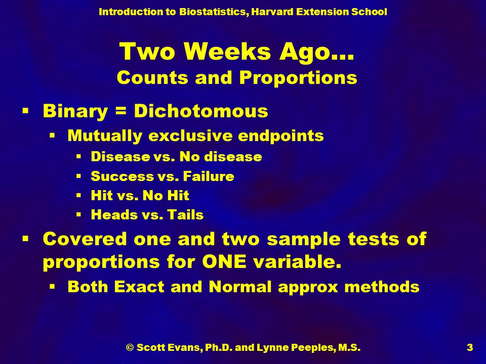 Introduction to Biostatistics, Harvard Extension School © Scott Evans, Ph.D. and Lynne Peeples, M.S.3 Two Weeks Ago… Counts and Proportions  Binary =