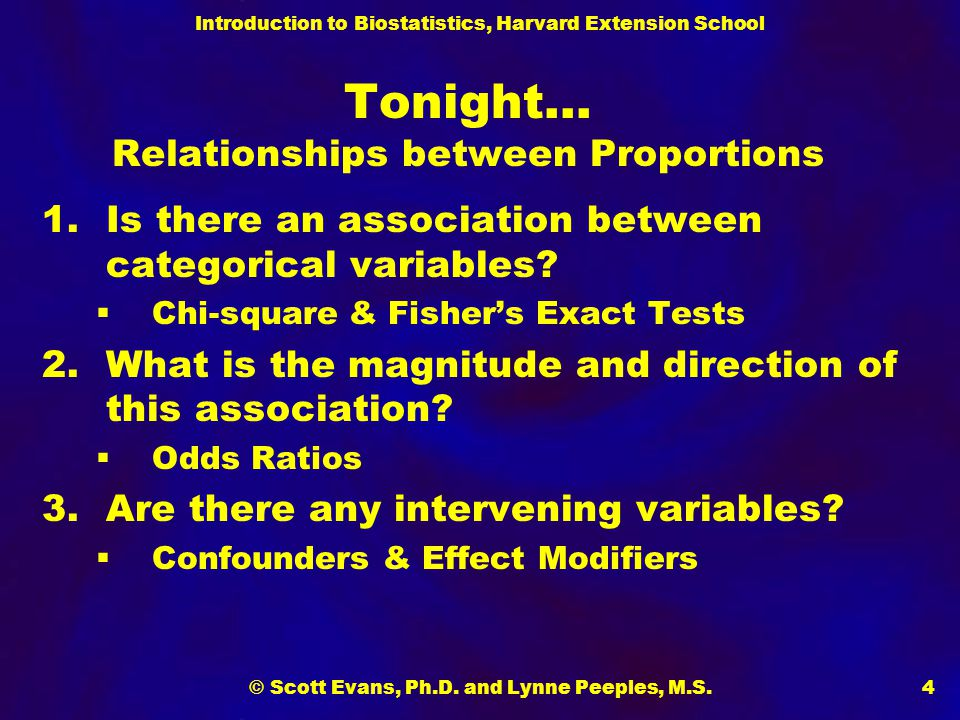 Introduction to Biostatistics, Harvard Extension School © Scott Evans, Ph.D. and Lynne Peeples, M.S.4 Tonight… Relationships between Proportions 1.Is