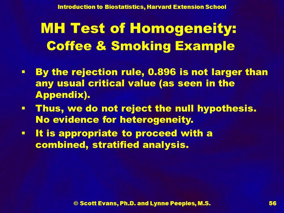 Introduction to Biostatistics, Harvard Extension School © Scott Evans, Ph.D. and Lynne Peeples, M.S.56 MH Test of Homogeneity: Coffee & Smoking Exampl