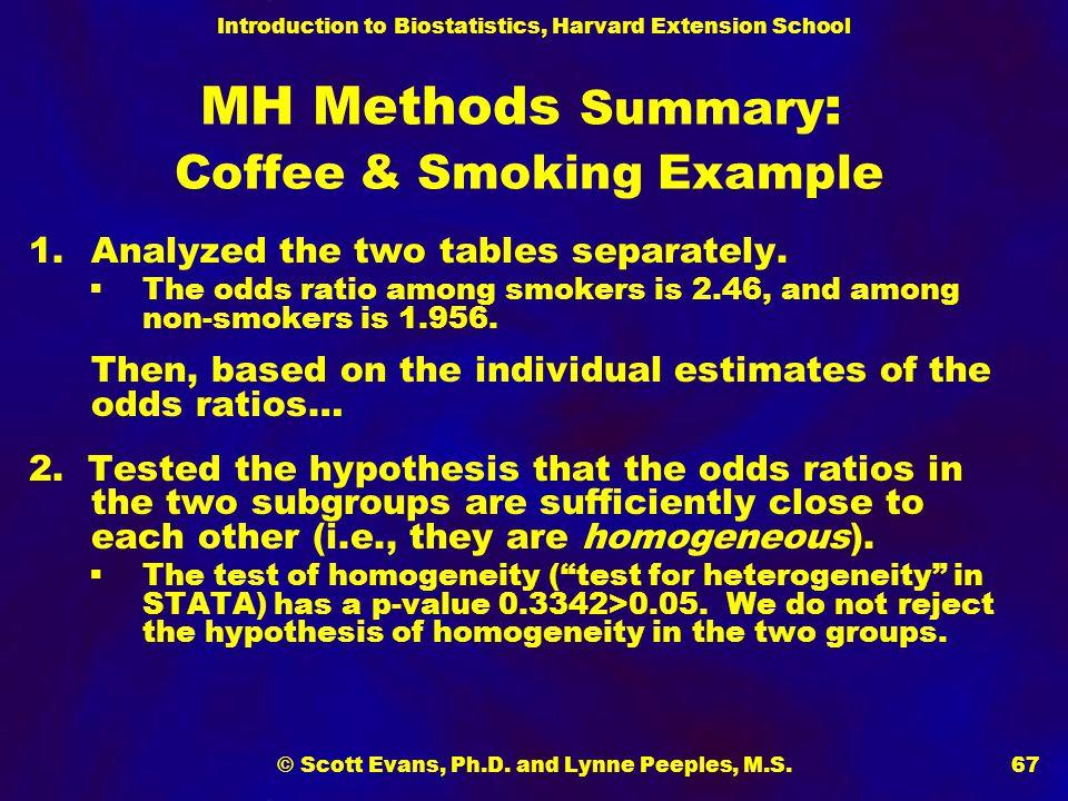 Introduction to Biostatistics, Harvard Extension School © Scott Evans, Ph.D. and Lynne Peeples, M.S.67 MH Methods Summary : Coffee & Smoking Example 1