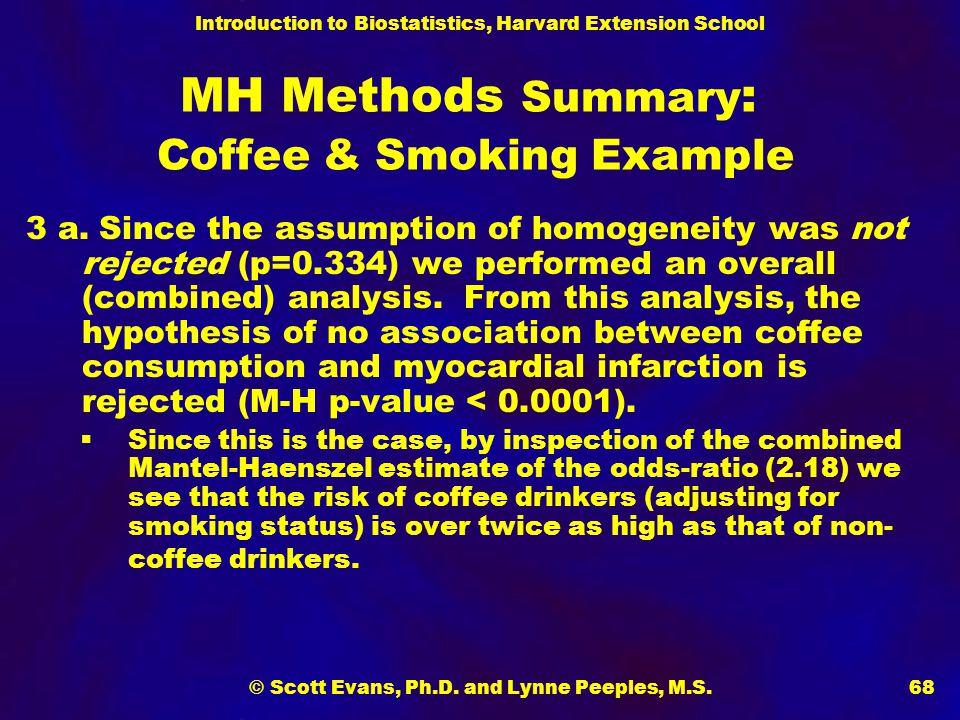 Introduction to Biostatistics, Harvard Extension School © Scott Evans, Ph.D. and Lynne Peeples, M.S.68 MH Methods Summary : Coffee & Smoking Example 3