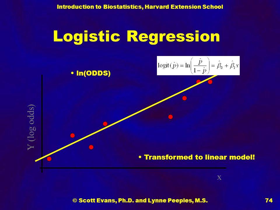 Introduction to Biostatistics, Harvard Extension School © Scott Evans, Ph.D. and Lynne Peeples, M.S.74 Logistic Regression x Y (log odds) Transformed
