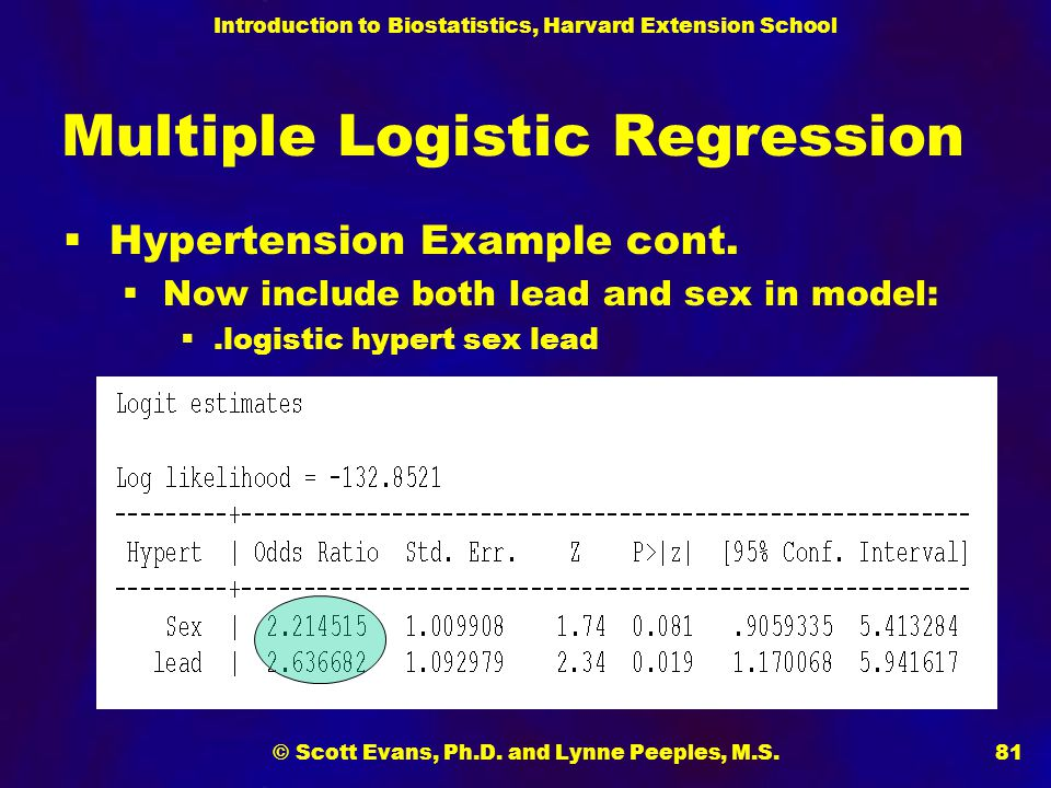 Introduction to Biostatistics, Harvard Extension School © Scott Evans, Ph.D. and Lynne Peeples, M.S.81 Multiple Logistic Regression  Hypertension Exa