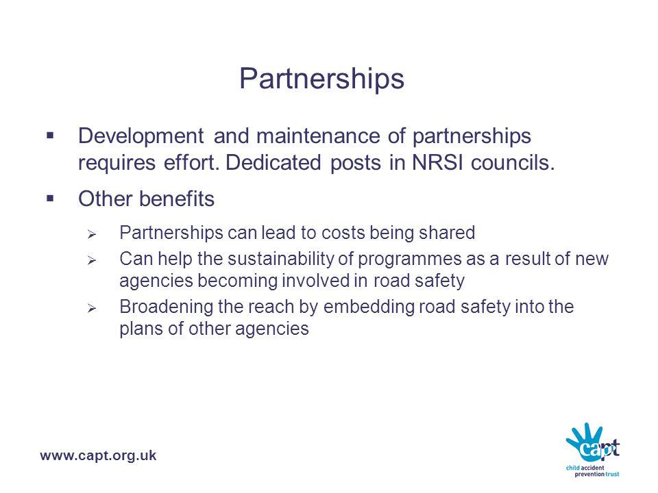 www.capt.org.uk Partnerships  Development and maintenance of partnerships requires effort.