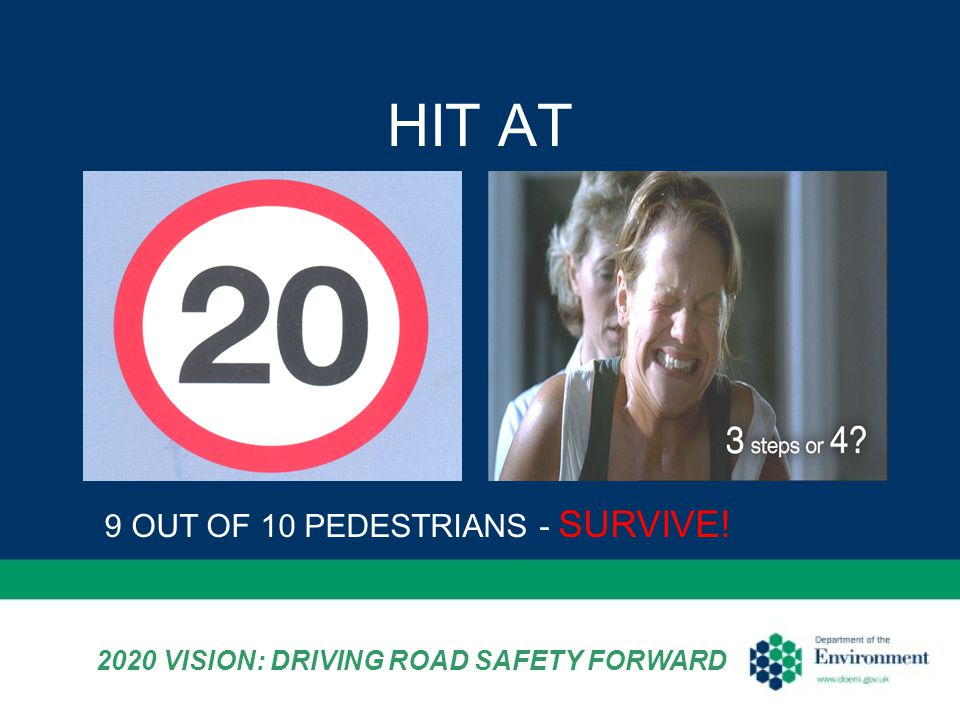 HIT AT 9 OUT OF 10 PEDESTRIANS - SURVIVE! 2020 VISION: DRIVING ROAD SAFETY FORWARD