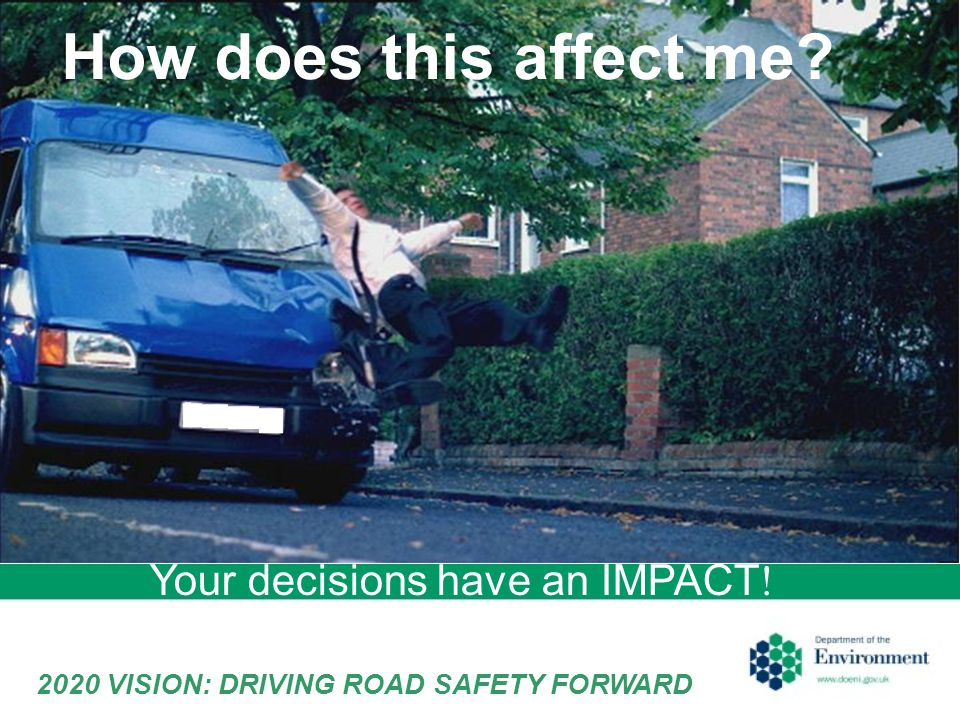 Your decisions have an IMPACT ! How does this affect me 2020 VISION: DRIVING ROAD SAFETY FORWARD