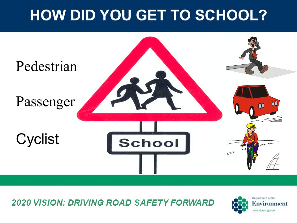 HOW DID YOU GET TO SCHOOL? Pedestrian Passenger Cyclist 2020 VISION: DRIVING ROAD SAFETY FORWARD