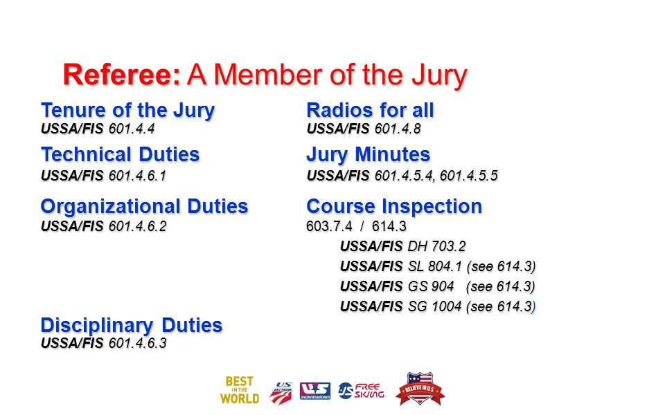 Referee: A Member of the Jury Tenure of the JuryRadios for all USSA/FIS 601.4.4 USSA/FIS 601.4.8 Technical DutiesJury Minutes USSA/FIS 601.4.6.1USSA/F