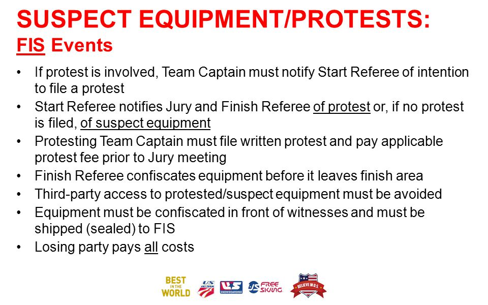 SUSPECT EQUIPMENT/PROTESTS: FIS Events If protest is involved, Team Captain must notify Start Referee of intention to file a protest Start Referee not