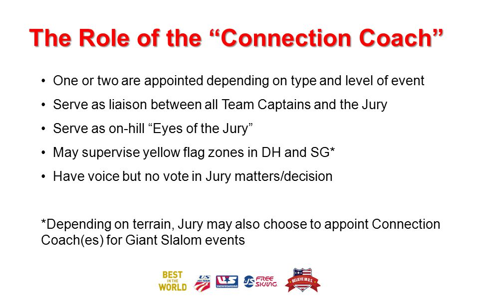 "The Role of the ""Connection Coach"" One or two are appointed depending on type and level of event Serve as liaison between all Team Captains and the Ju"