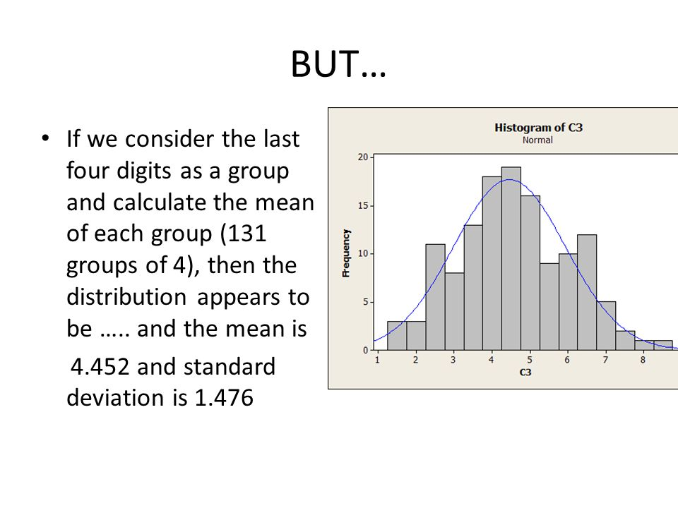 BUT… If we consider the last four digits as a group and calculate the mean of each group (131 groups of 4), then the distribution appears to be …..