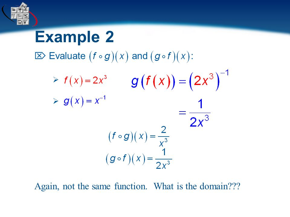 Example 1  Evaluate and :  You can see that function composition is not commutative!