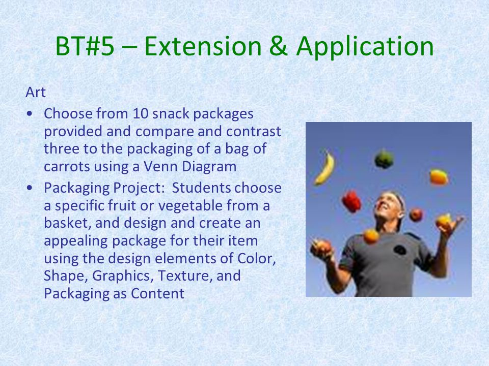 BT#5 – Extension & Application http://www.thinkstainless.com/portfolio_images/cheezit_package.jpg http://www.idsgn.org/images/ritz-and-oreo-go-retro/oreo_before_after.jpg Art, Cont.