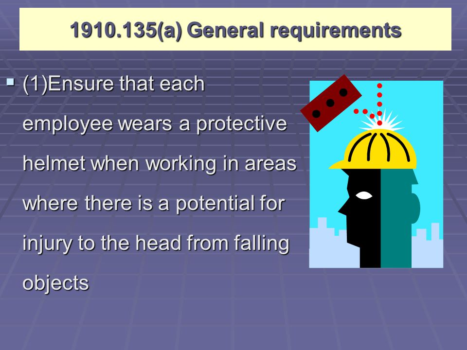 5/3/2015Industrial Safety Lecture Two12 Introduction to PPE  Head Protection Webbing: 1 inch clearance Early Hard Hats were made of metal