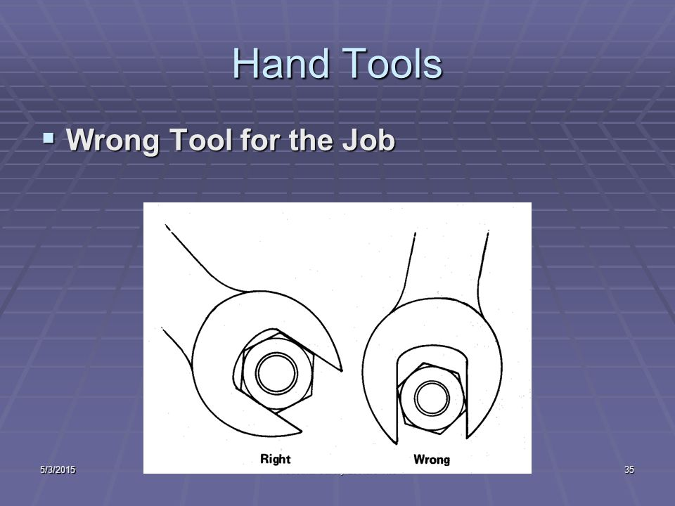 5/3/2015Industrial Safety Lecture Two34 Hand Tools  Defective Tools
