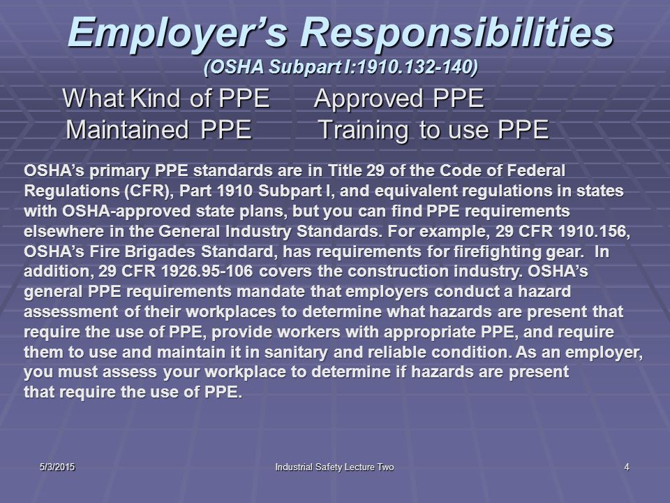 What is personal protective equipment?  Personal protective equipment, or PPE, is designed to protect employees from serious workplace injuries or il