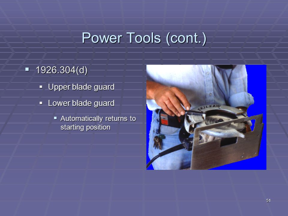 Power Tools  Classification by power source  Electric  Pneumatic  Liquid Fuel  Hydraulic  Powder Actuated 50