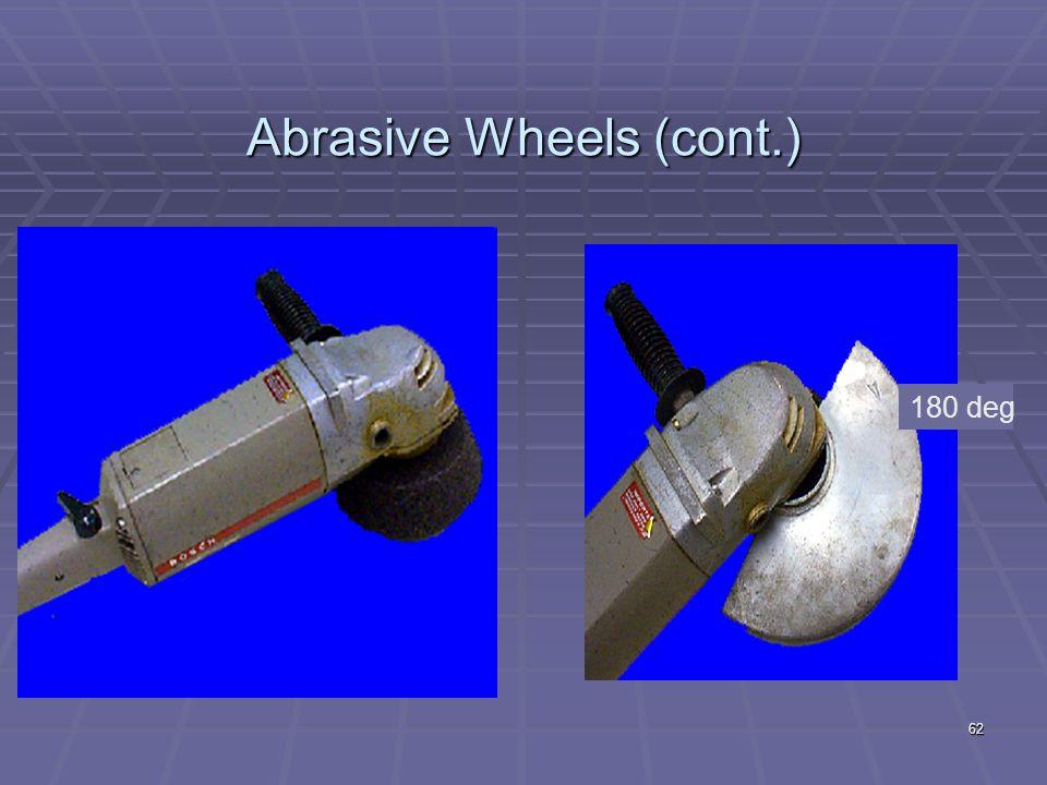 Abrasive Wheels (cont.) Maximum RPM 61