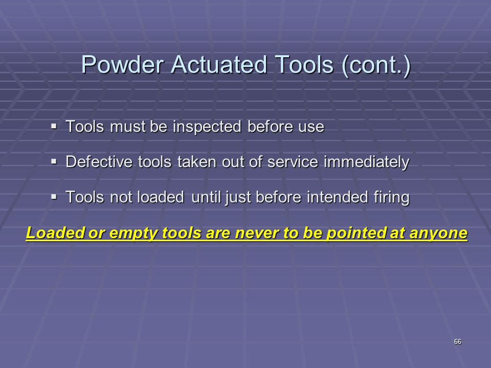 65 Charges used in powder actuated tools Right size charge with right size fastener