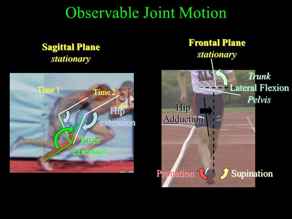 Observable Joint Motion Sagittal Plane stationary Frontal Plane stationary Time 1 Time 2 Hipextension Kneeextension Trunk Lateral Flexion Pelvis SupinationPronation Hip Adduction