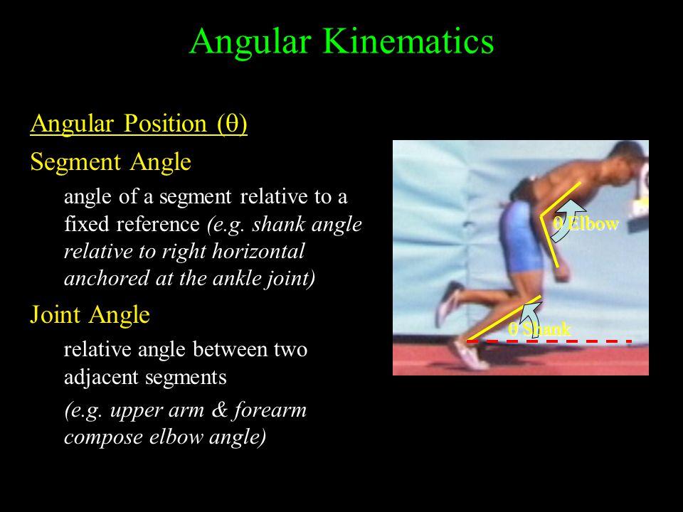 Angular Kinematics Angular Position (  ) Segment Angle angle of a segment relative to a fixed reference (e.g.