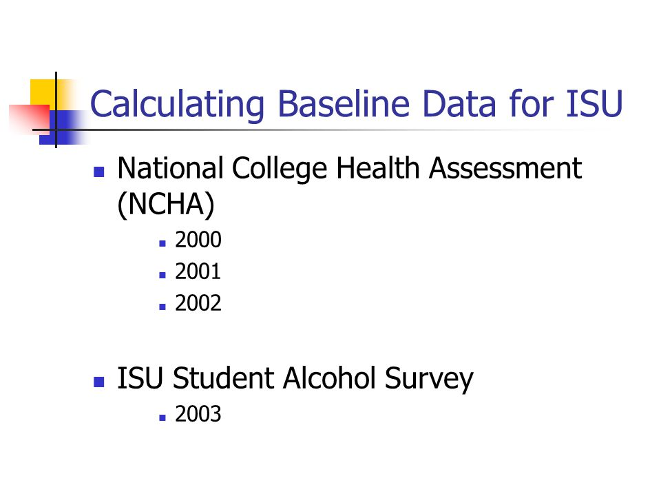 Calculating Baseline Data for ISU National College Health Assessment (NCHA) 2000 2001 2002 ISU Student Alcohol Survey 2003