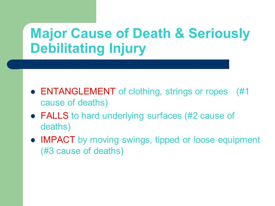 Major Cause of Death & Seriously Debilitating Injury ENTANGLEMENT of clothing, strings or ropes (#1 cause of deaths) FALLS to hard underlying surfaces (#2 cause of deaths) IMPACT by moving swings, tipped or loose equipment (#3 cause of deaths)