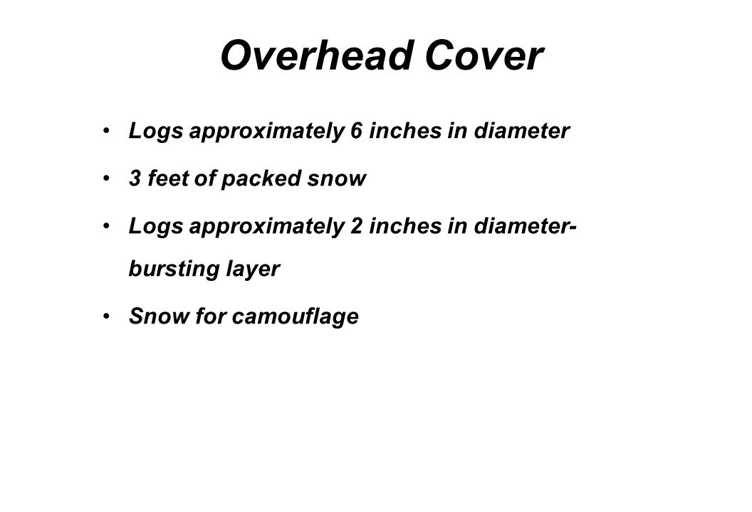 Overhead Cover Logs approximately 6 inches in diameter 3 feet of packed snow Logs approximately 2 inches in diameter- bursting layer Snow for camoufla