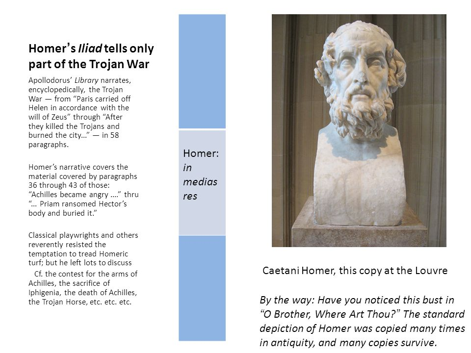 Homer's Iliad tells only part of the Trojan War Homer: in medias res Apollodorus' Library narrates, encyclopedically, the Trojan War — from Paris carried off Helen in accordance with the will of Zeus through After they killed the Trojans and burned the city... — in 58 paragraphs.