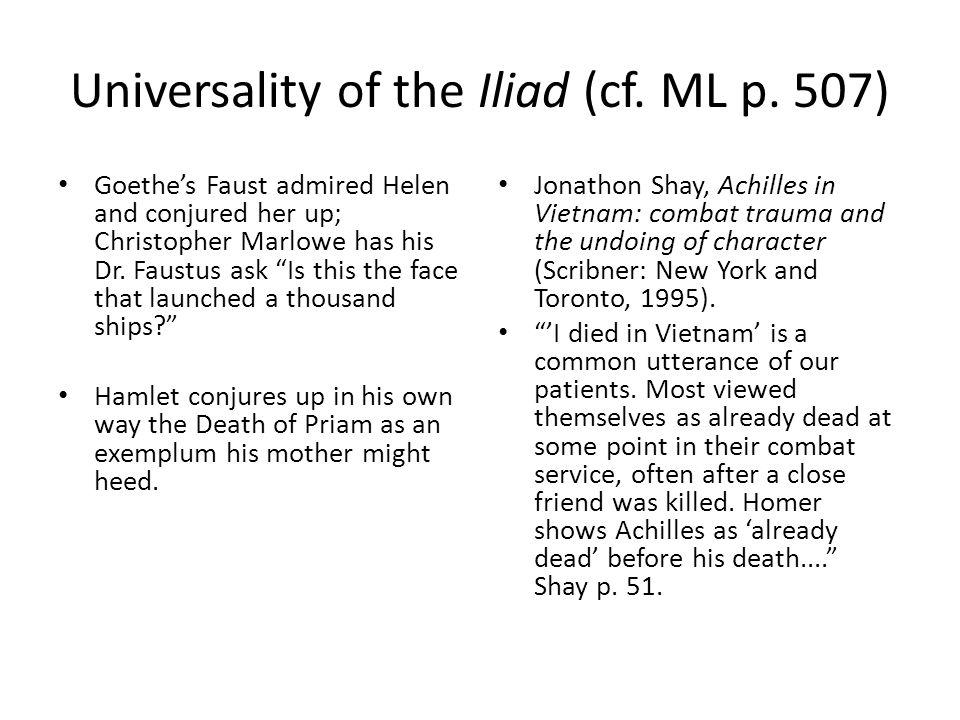 Universality of the Iliad (cf. ML p.
