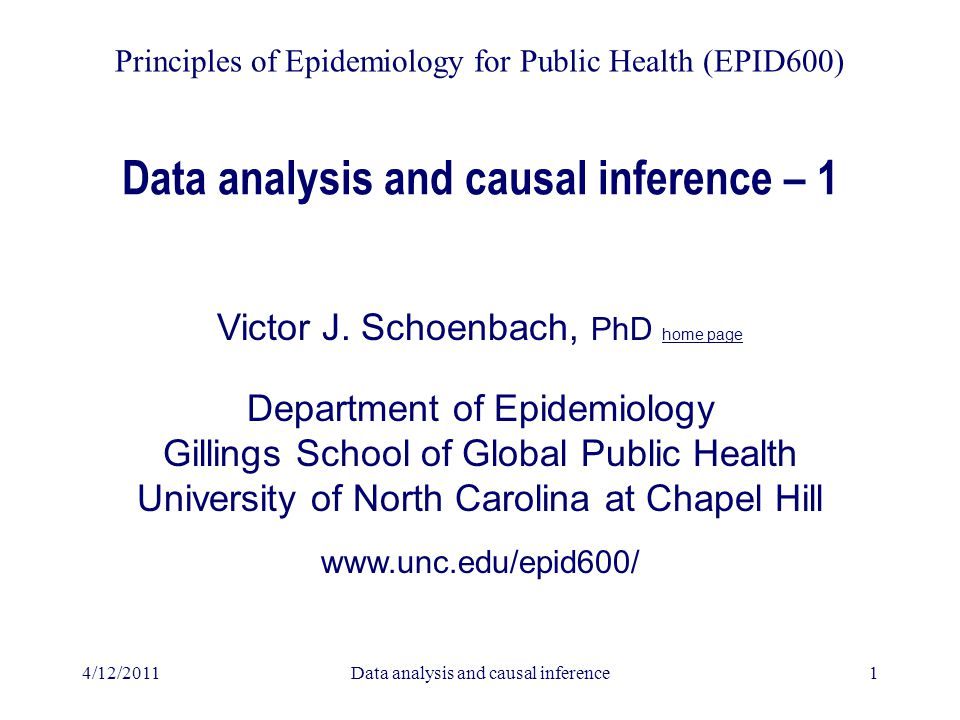 4/12/2011Data analysis and causal inference1 Data analysis and causal inference – 1 Victor J. Schoenbach, PhD home page Department of Epidemiology Gil