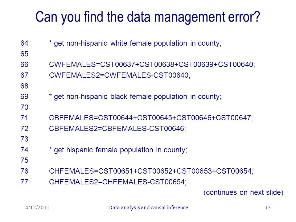 4/12/2011Data analysis and causal inference15 Can you find the data management error? 64 * get non-hispanic white female population in county; 65 66 C
