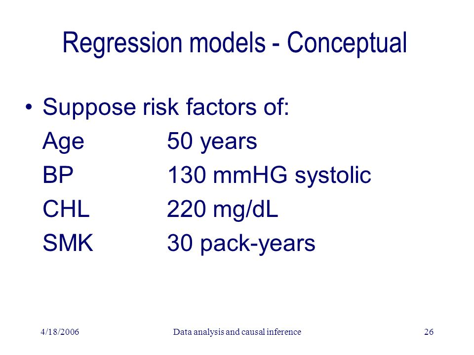 4/18/2006Data analysis and causal inference26 Regression models - Conceptual Suppose risk factors of: Age50 years BP130 mmHG systolic CHL220 mg/dL SMK30 pack-years