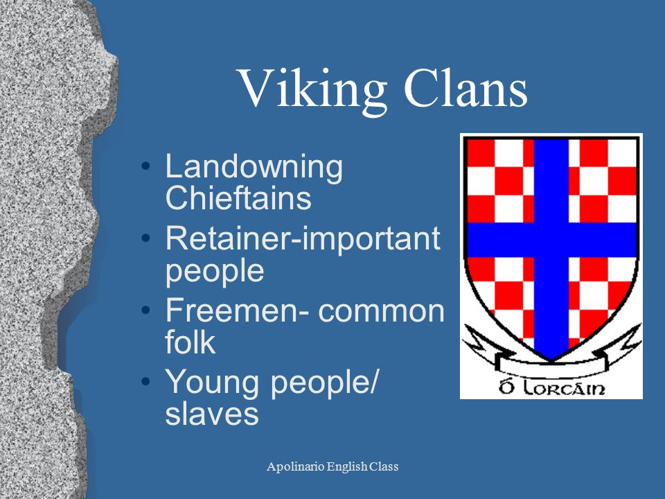Apolinario English Class Viking Clans Landowning Chieftains Retainer-important people Freemen- common folk Young people/ slaves