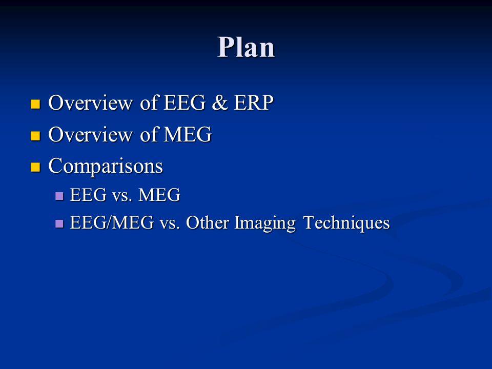 Plan Overview of EEG & ERP Overview of EEG & ERP Overview of MEG Overview of MEG Comparisons Comparisons EEG vs.