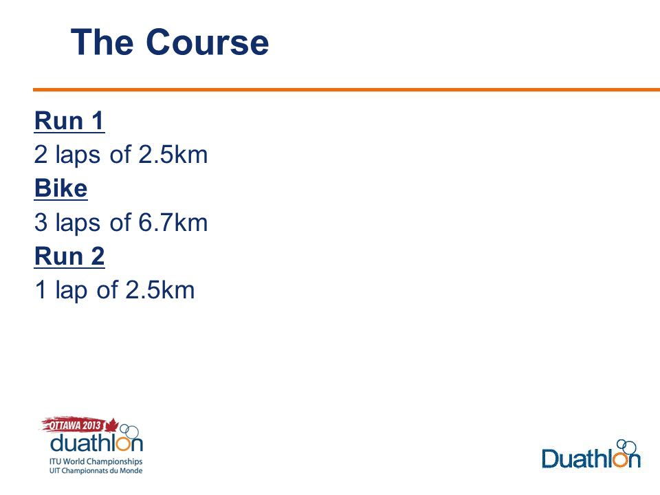 The Course Run 1 2 laps of 2.5km Bike 3 laps of 6.7km Run 2 1 lap of 2.5km