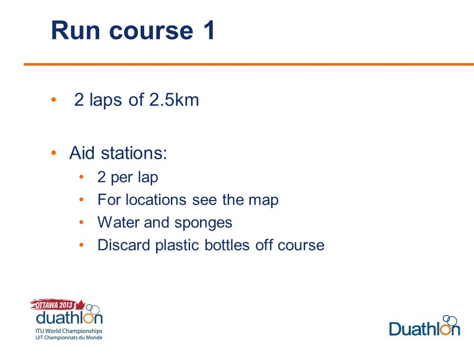 Run course 1 2 laps of 2.5km Aid stations: 2 per lap For locations see the map Water and sponges Discard plastic bottles off course