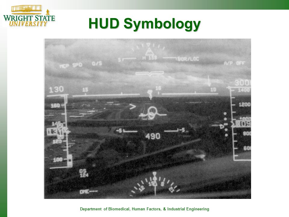 Department of Biomedical, Human Factors, & Industrial Engineering HUD Symbology