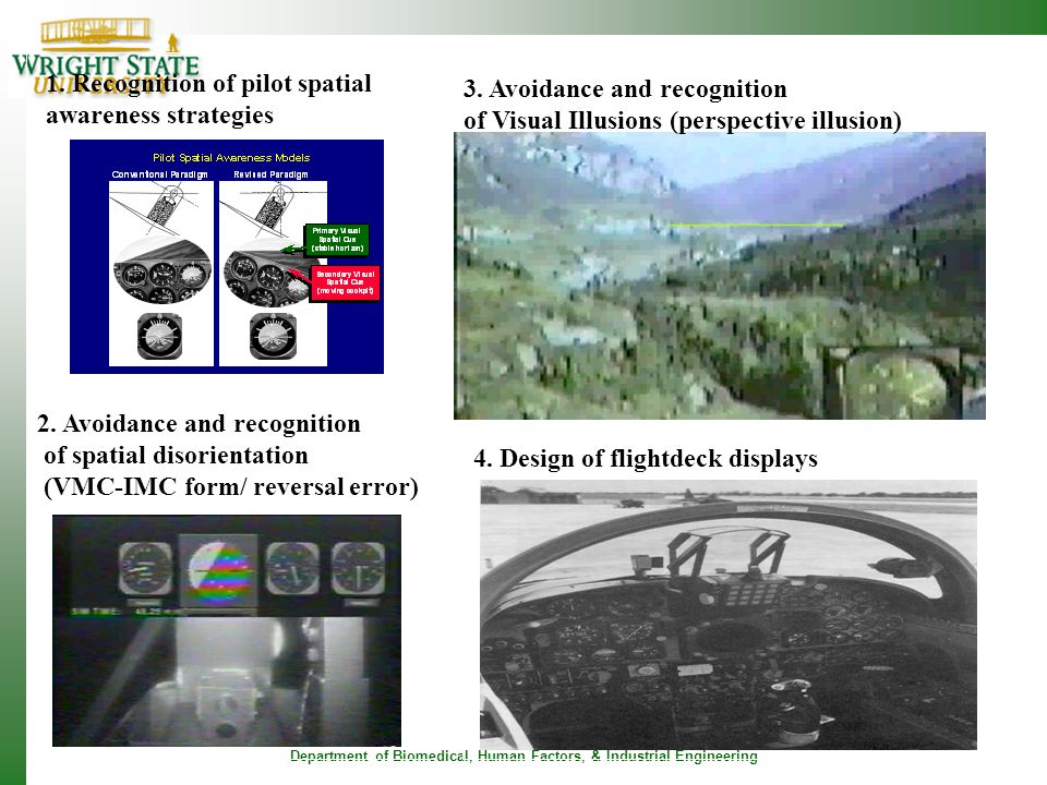 Department of Biomedical, Human Factors, & Industrial Engineering 3. Avoidance and recognition of Visual Illusions (perspective illusion) 1. Recogniti