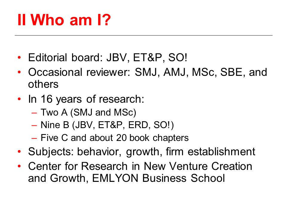 II Who am I. Editorial board: JBV, ET&P, SO.