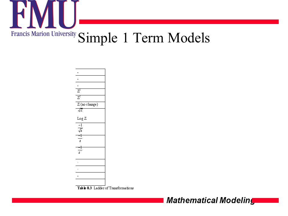 Mathematical Modeling Simple 1 Term Models