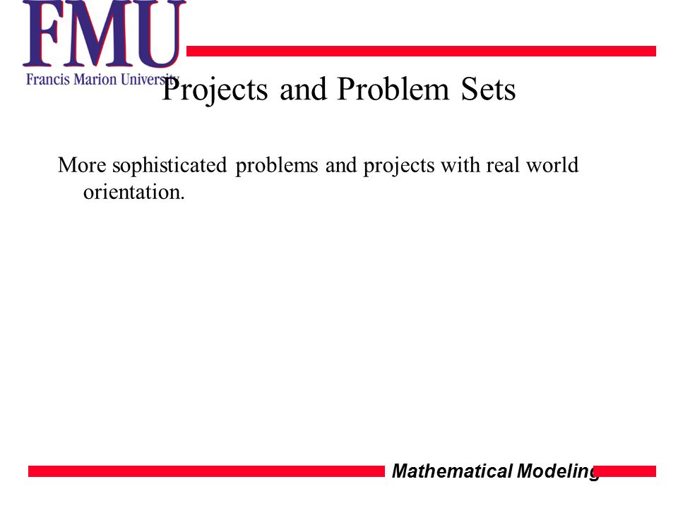 Mathematical Modeling Projects and Problem Sets More sophisticated problems and projects with real world orientation.