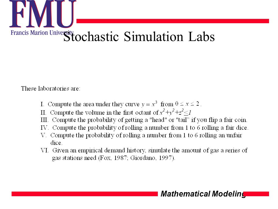 Mathematical Modeling Stochastic Simulation Labs