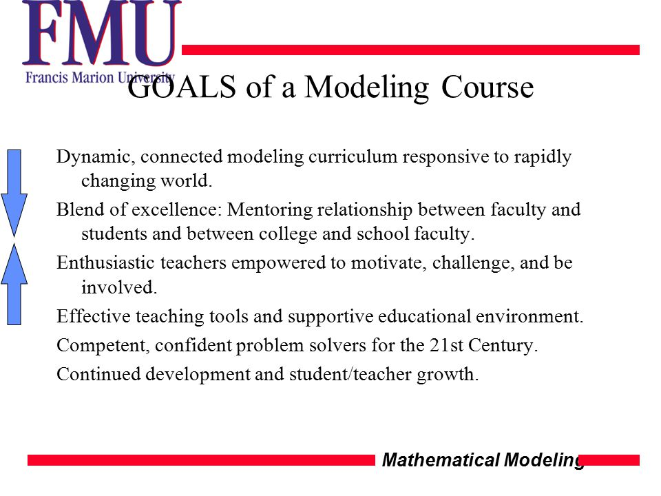 Mathematical Modeling GOALS of a Modeling Course Dynamic, connected modeling curriculum responsive to rapidly changing world.