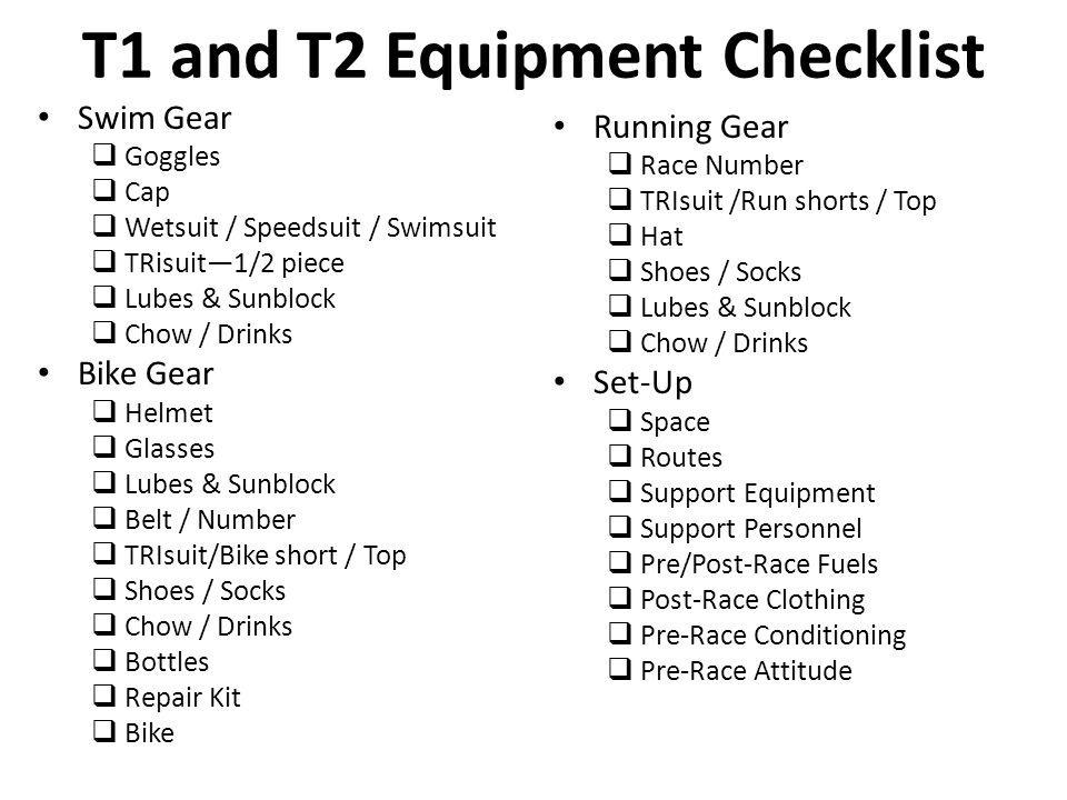 Swim Gear  Goggles  Cap  Wetsuit / Speedsuit / Swimsuit  TRisuit—1/2 piece  Lubes & Sunblock  Chow / Drinks Bike Gear  Helmet  Glasses  Lubes