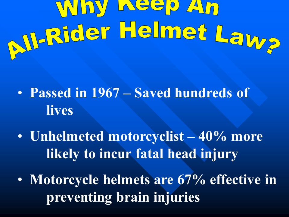 Passed in 1967 – Saved hundreds of lives Unhelmeted motorcyclist – 40% more likely to incur fatal head injury Motorcycle helmets are 67% effective in
