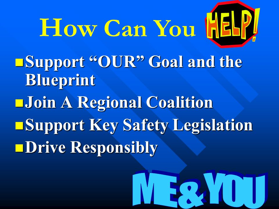 "Support ""OUR"" Goal and the Blueprint Support ""OUR"" Goal and the Blueprint Join A Regional Coalition Join A Regional Coalition Support Key Safety Legis"