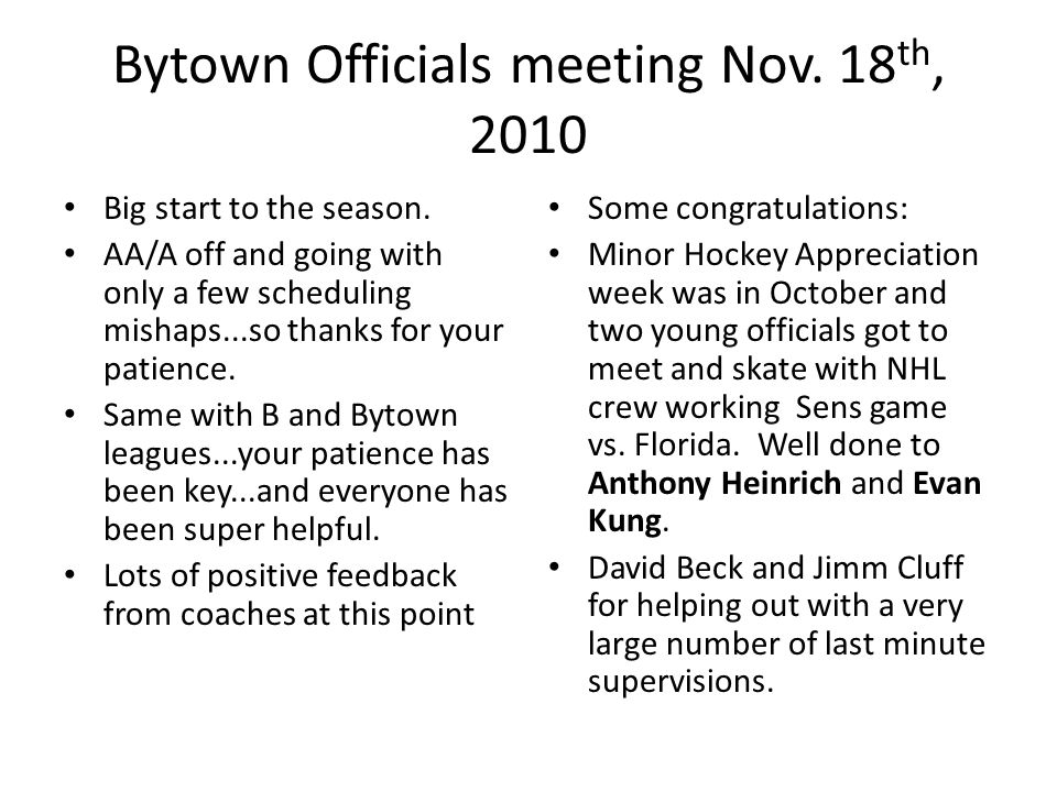 Bytown Officials meeting Nov.